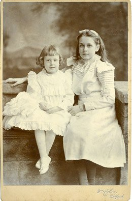 Vintage photo of two young girls